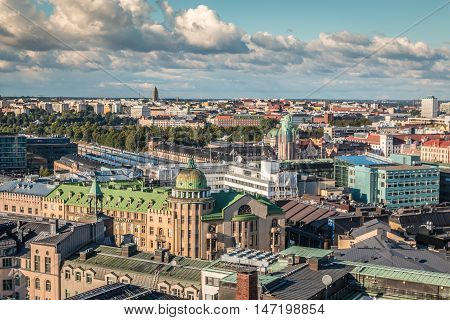 Panoramic view of the city of Helsinki in Finland