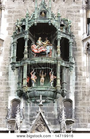 Clock Of The Old City Hall At Marienplatz In Munich