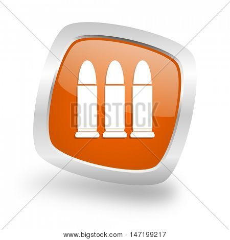 ammunition square glossy orange chrome silver metallic web icon