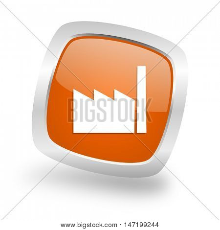 factory square glossy orange chrome silver metallic web icon