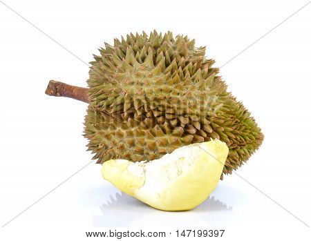 Durian King of Fruits isolated on white background.