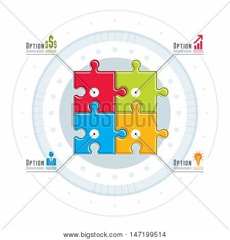 Vector layout of puzzle elements infographic composition layout of jigsaw puzzles for visual presentation of options.