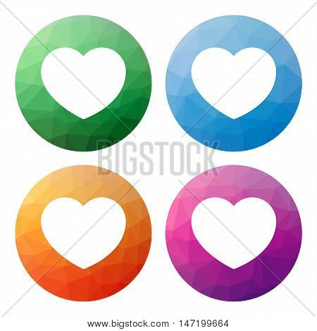 Collection of 4 isolated modern low polygonal mosaic abstract buttons - icons - for heart like favourite best wish wishlist