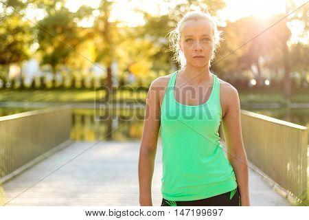 Active Woman Portrait In Urban Park