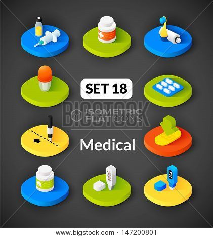 Isometric flat icons, 3D pictograms vector set 18 - Medical symbol collection