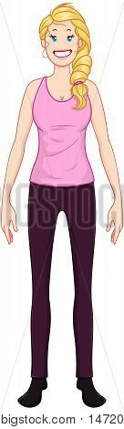 Vector illustration of a blond woman standing and smiling.