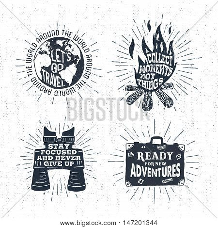 Hand drawn textured vintage labels set with globe bonfire binoculars suitcase and lettering vector illustrations.