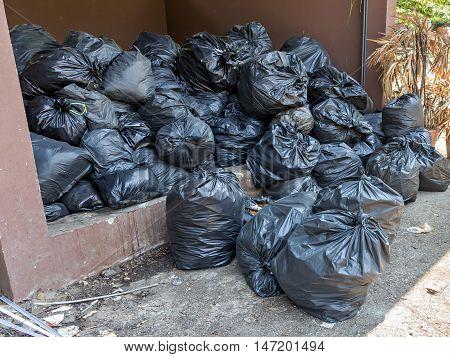 Pile Of Full Garbage Bags In A Dump