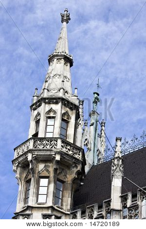 The Tower Of The City Hall At Marienplatz In Munich