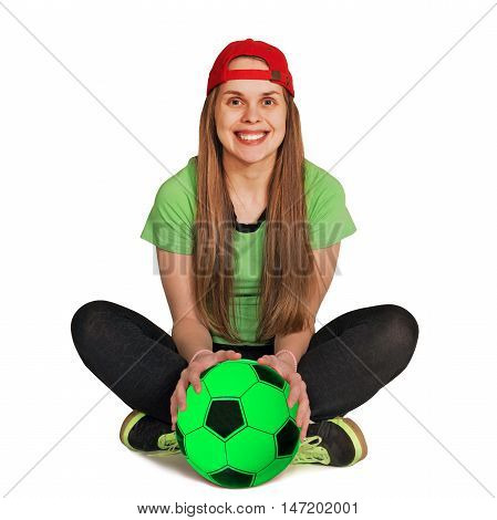 girl be sitting with ball on the white background