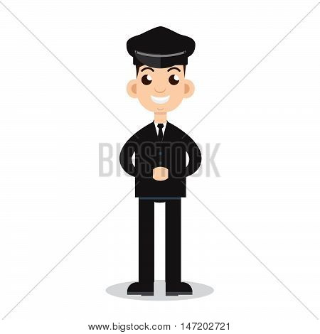 Chauffer, Limo Driver, limousine driver. Stock vector. Vector illustration.