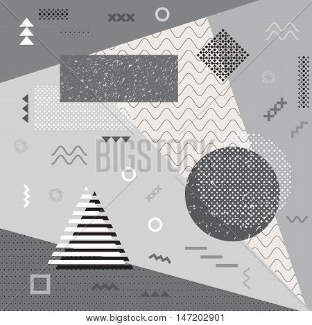 Retro illustration. Chaotic design. Hipster backdrop. Memphis wallpaper. Vintage art. Grunge background. Graphic print. Futuristic ornament. Geometric pattern. Avant garde decoration. Vector.