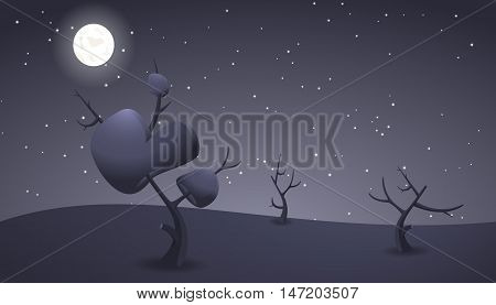 Dark cartoon landscape for game design. Horizontal nature background at night. Dry trees with leaves and branches. Moon and stars on the sky