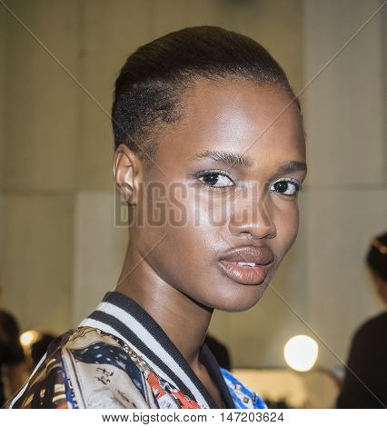 New York NY USA - September 13 2016: A model prepares backstage for the Dennis Basso Spring/Summer 2017 runway show during New York Fashion Week SS 2017 at The Arc Skylight at Moynihan Station