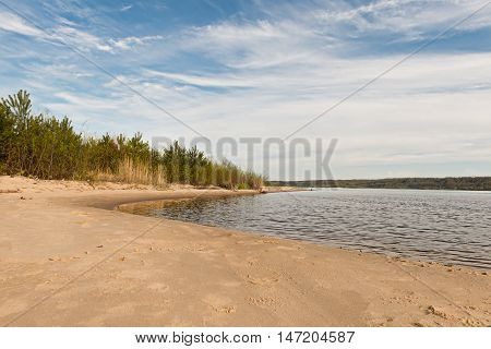 bank of the river Volga in the spring