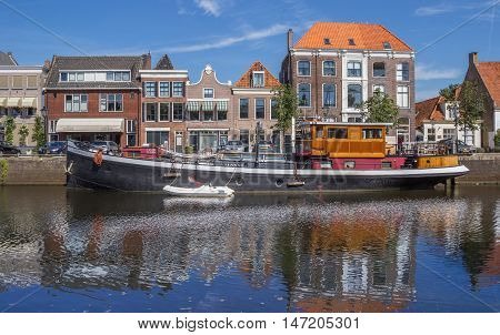 ZWOLLE, NETHERLANDS - AUGUST 31, 2016: Old ship in a canal in Zwolle, The Netherlands