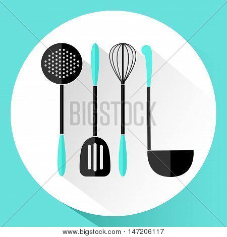 Kitchen utensils. Icon in flat style. Vector illustration.