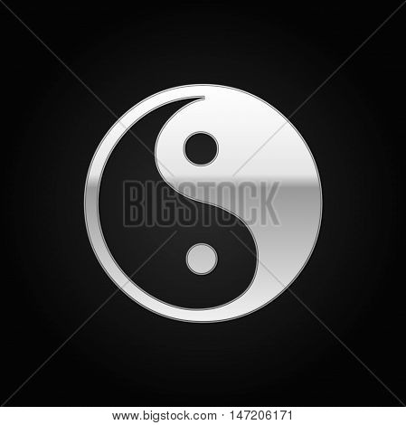 Silver Yin Yang symbol icon on black background. Vector Illustration
