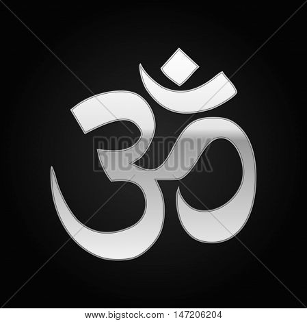 Silver sign Om. Symbol of Buddhism and Hinduism religions icon on black background. Vector Illustration