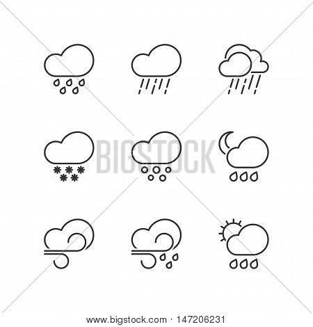 Thin line icons set about bad weather. Flat symbols