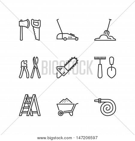 Thin line icons set about garden tools 1. Flat symbols
