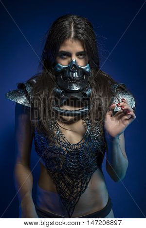 fashion girl with iron armor and metal skull, sensual dark and dangerous