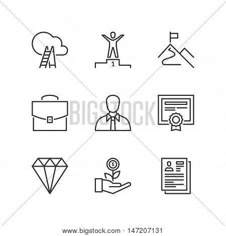 Thin line icons set about professional success. Flat symbols
