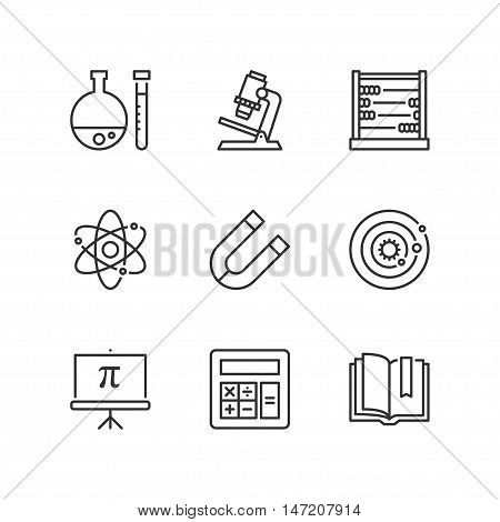 Thin line icons set about school. Science subjects. Flat symbols