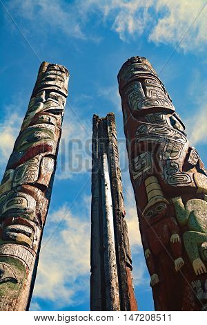 Port Hardy Canada three totem poles ancient