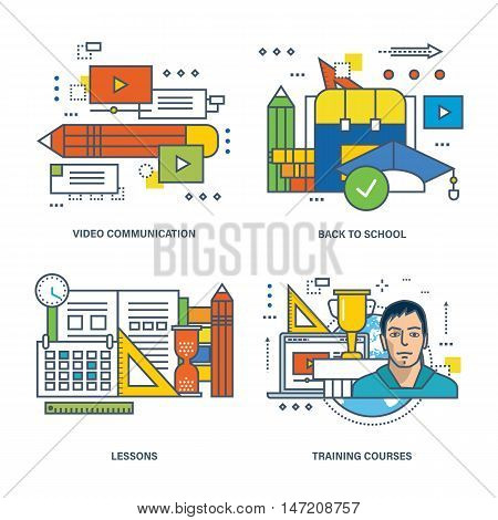 Concept of video communication, back to school, lesson and training courses. Color Line icons collection.