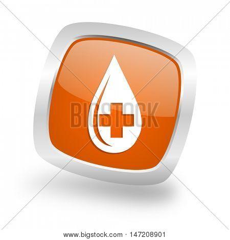 blood square glossy orange chrome silver metallic web icon