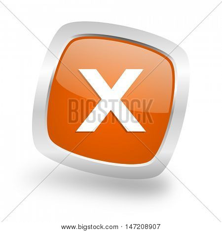 cancel square glossy orange chrome silver metallic web icon