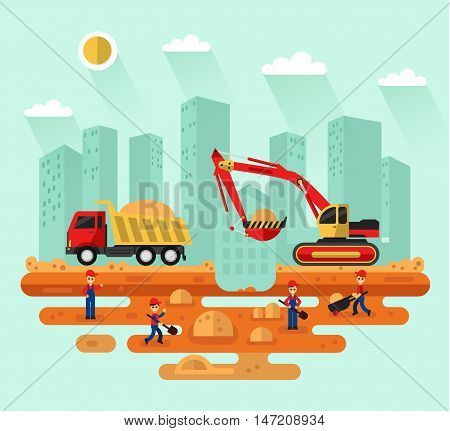 Flat design vector landscape illustration of construction process in the city. Excavator loading sand into a truck, workers with trolley and shovel. Industrial landscape, urban scene.
