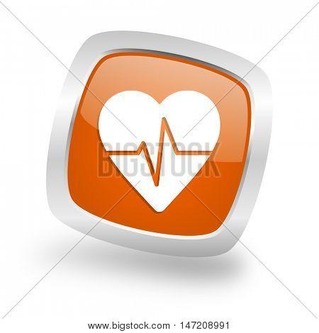 pulse square glossy orange chrome silver metallic web icon