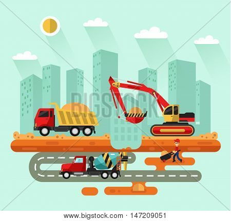 Flat design vector landscape illustration of construction process in the city. Excavator loading sand into a truck, concrete mixer on the road, worker with trolley. Industrial landscape, urban scene.