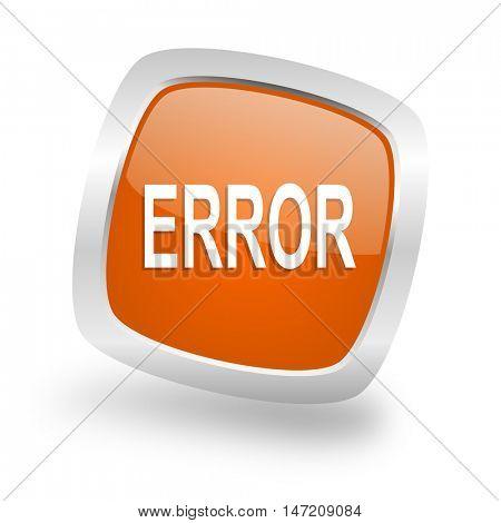 error square glossy orange chrome silver metallic web icon