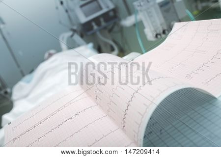 ECG on the background of lying patient.