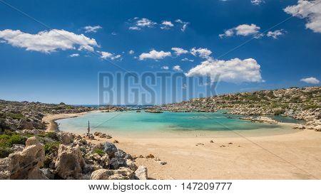 White Lake in Crete island, Greece. Aspri Limni is a lake and a beach near Elafonissi