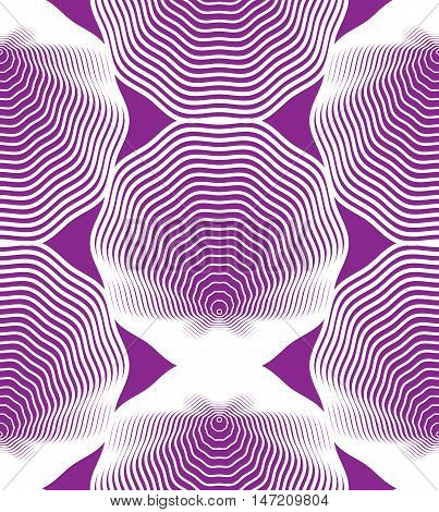Ornate vector purple abstract background with white lines. Symmetric decorative graphical pattern geometric illustration.