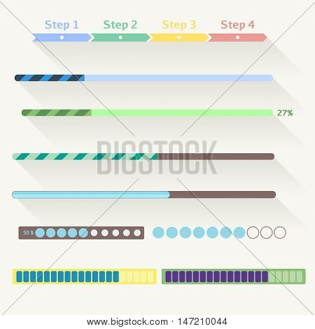 Vector flat web design progress bars set. Vector set of various elements used for User Interface projects.