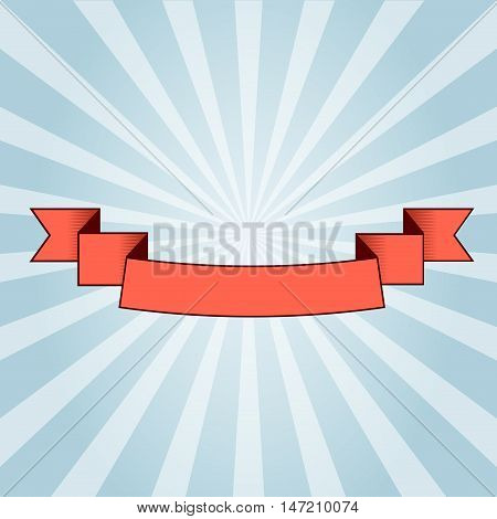 Vintage red Ribbon on sunrays background. For User Interface projects