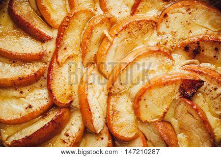 apple tart cake, closeup view