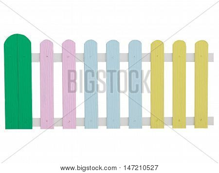Colorful wooden picket fence isolated on white background with clipping path.