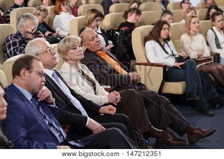 RUSSIA, MOSCOW - APR 6, 2015: Vladimir Menshov, Vera Alentova, Valery Kitchin and other spectators on VI online film festival Dubl dva.