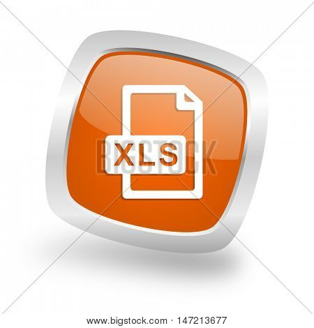 xls file square glossy orange chrome silver metallic web icon