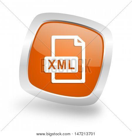 xml file square glossy orange chrome silver metallic web icon