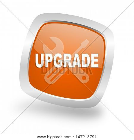 upgrade square glossy orange chrome silver metallic web icon