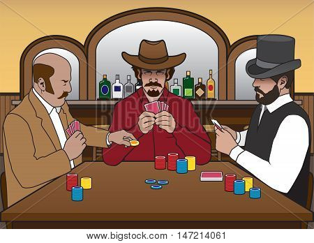 Three old west gamblers enjoying a card game in a saloon