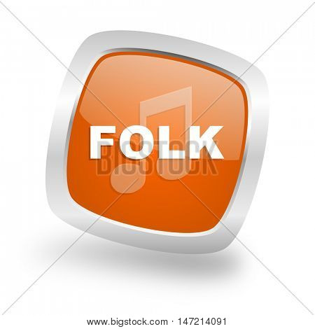folk music square glossy orange chrome silver metallic web icon
