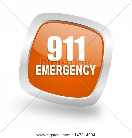 number emergency 911 square glossy orange chrome silver metallic web icon
